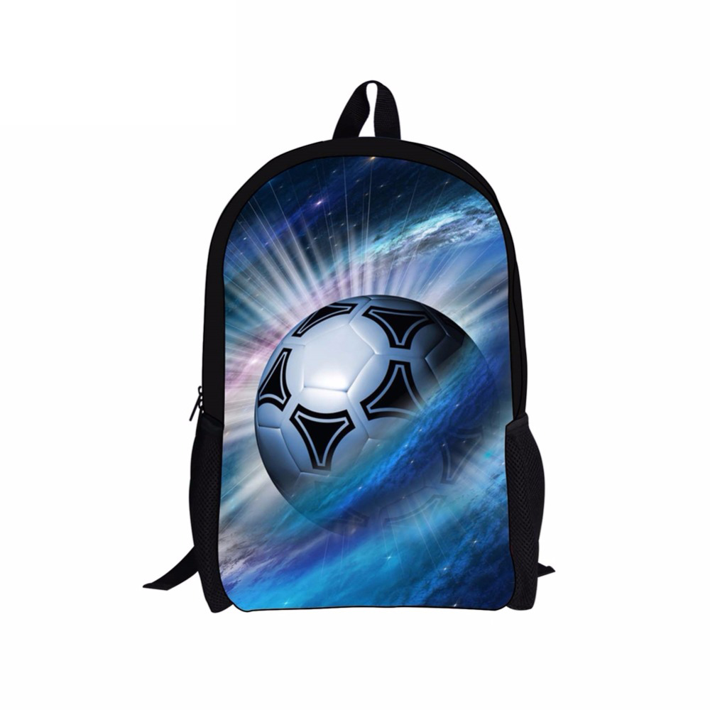 Noisydesigns Shine 3D Galaxy Universe Soccerly Foot Ball Printing Men Backpack Casual Laptop Rucksacks Daily Male Travel Daypack