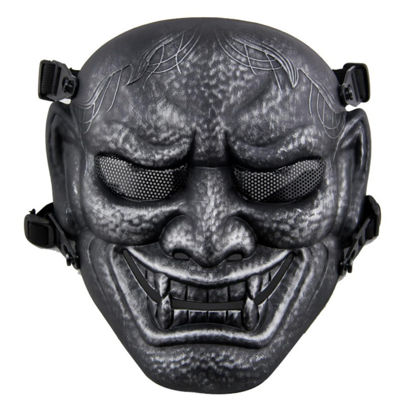 Japanese Ghost King Samurai Tactical Full Face Mask Mesh Military Army Holloween Wargame Airsoft Paintball Masks