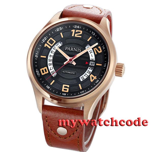 43mm Parnis black dial golden case Sapphire Glass miyota Automatic mens Watch377 цена и фото
