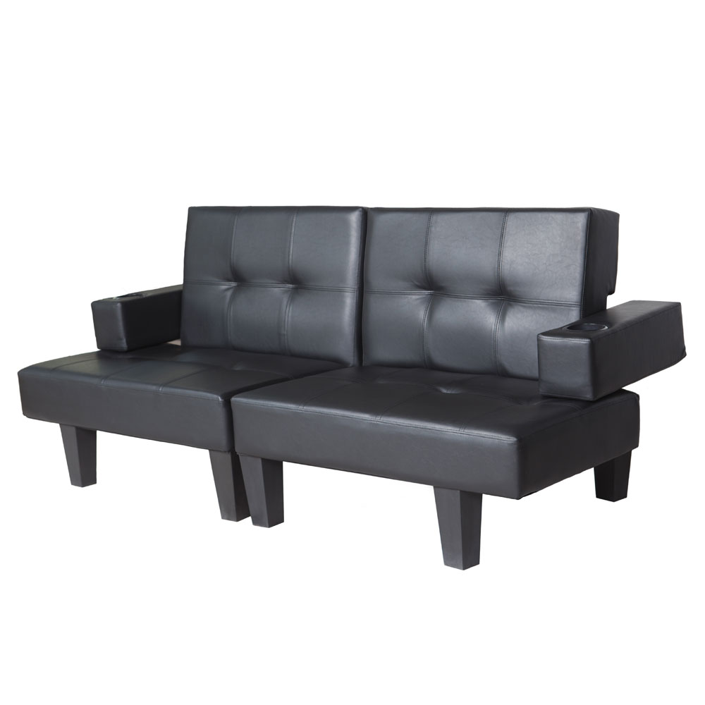 Functional Sofa Bed Chaise Lounge Sofa Set Black Faux Leather