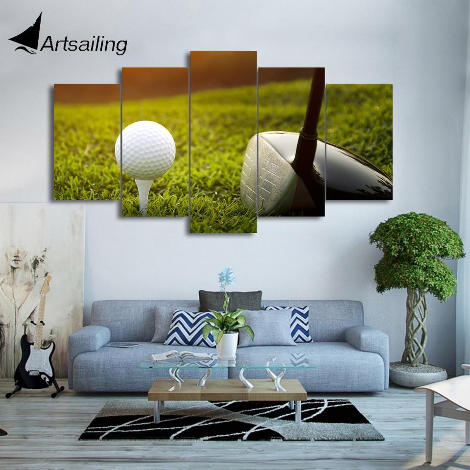 HD Gedruckt 5 Stück Leinwand Kunst Golfplatz Malerei Golf Club und ...