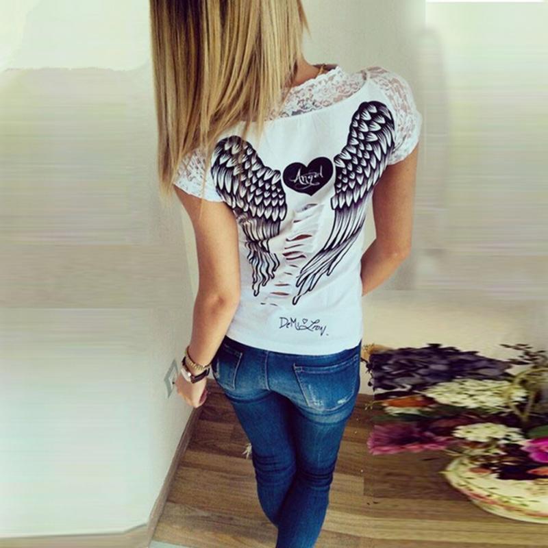 b735d9ba33 S XXL Summer Fashion Women s T shirt Back Hollow Angel Wings T shirt ...