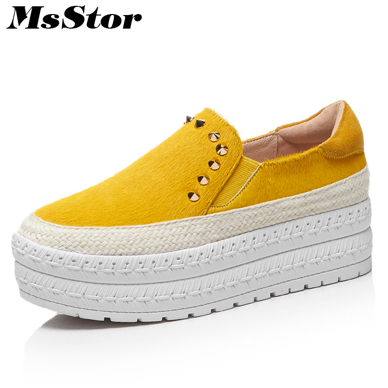 MsStor Round Toe Platform Women Flats Casual Fashion Horsehair Ladies Flat Shoes 2018 Spring Fur Rivet Women Flat Brand Shoes eiswelt shoes spring summer fashion rivet flats party pointed flock women shoes wedding shoes glitter flat ladies shoes zjf84