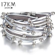 17KM Design Fashion Bead Multiple Layers Charm Bracelet For Women Men Leather Bracelets & Bangle New Femme Party Jewelry Gift