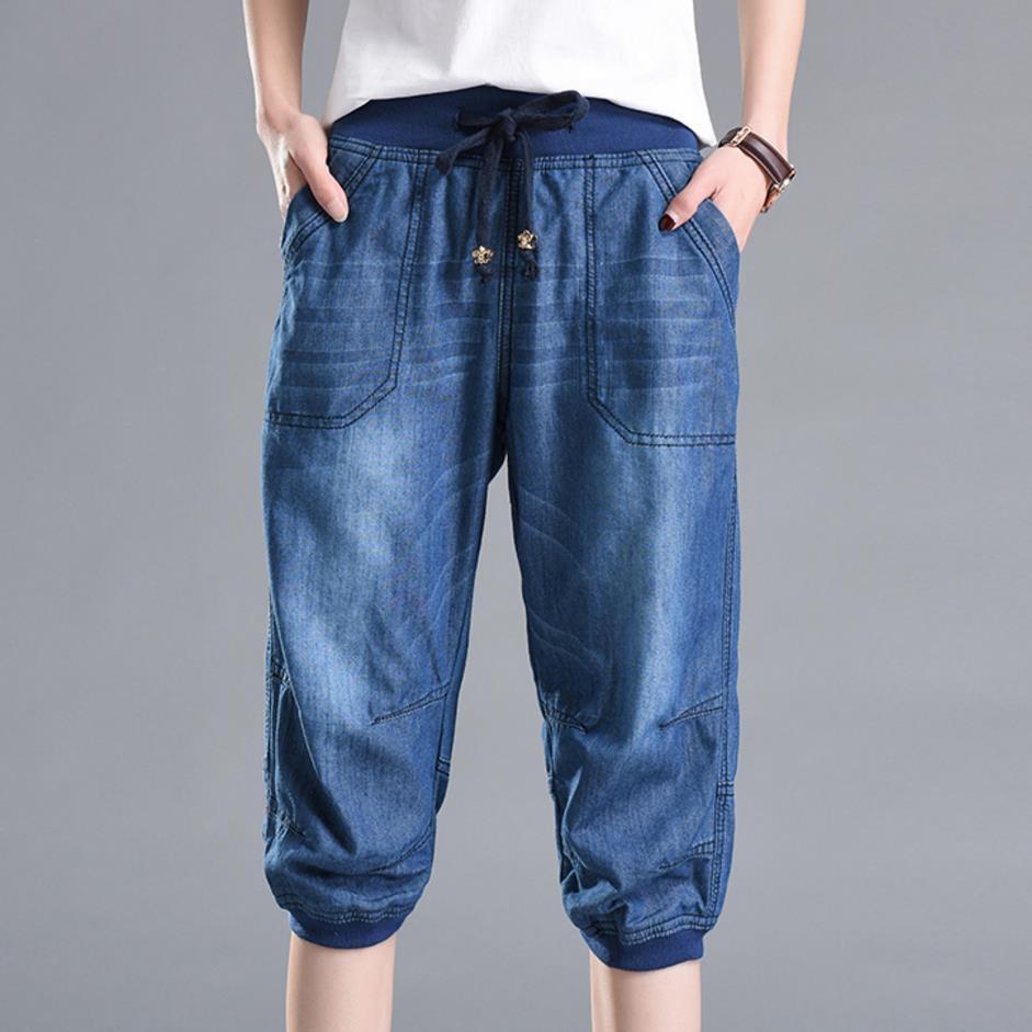 Plus Size 4XL 2018 Summer Denim Capri Loose Jeans Women Casual High Waist Harem Jeans Short Denim