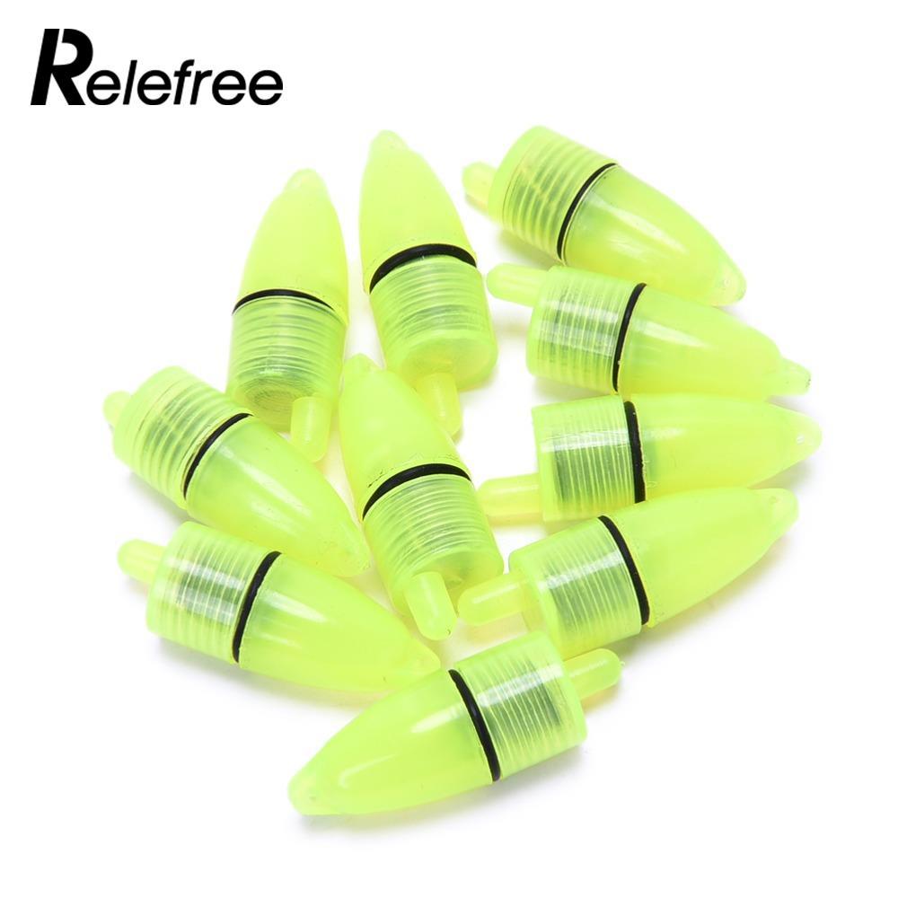Relefree 10Pcs Fishing Rod Tip LED Light Bells Alarm Clamp Night Fish Bite Ring
