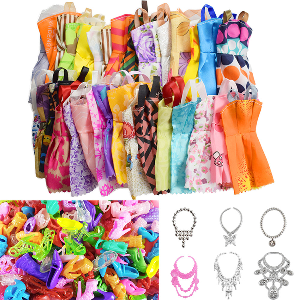 26 Item/Pcs=10 Pcs Beautiful Party Barbie Clothes Fashion Dress+6 Plastic Necklace+10 Pair Shoes For Barbie Doll Accessories new 20 pcs set handmade party 12 clothes fashion mixed style dress 8 pair accessories shoes for barbie doll best gift girl toy