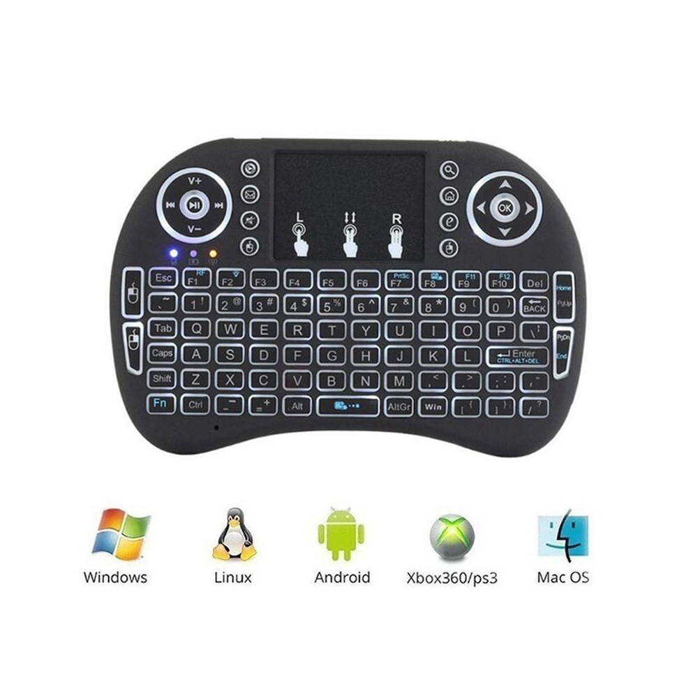 Image 2 - Vmade i8 Backlit Keyboard English Russian Spanish 3 Color Mini Wireless Air Mouse 2.4GHZ Touchpad Laptop For Android Box X96-in Keyboards from Computer & Office