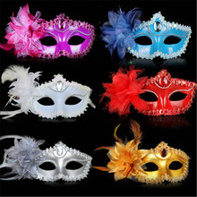 9 Color Sexy Diamond Venetian Mask Venice Feather Flower Wedding Carnival Party Performance Costume Sex Lady Mask Masquerade Hot(China)