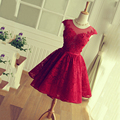 Glamorous Cap Sleeves Sexy Lace up Back Short  Party Dresses 2016  Scoop Appliques Lace Cocktail Dresses