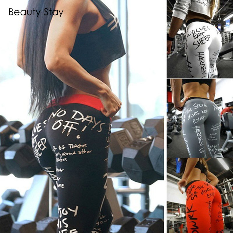 BeautyStay No Days Off Letter Printing Workout Women   Leggings   High Elastic Waist Push Up White Sexy & Club Knitted Girl   Leggings