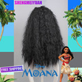 2016 New Movie Moana 75cm long wavy curly dark brown cosplay wig +a wig cap