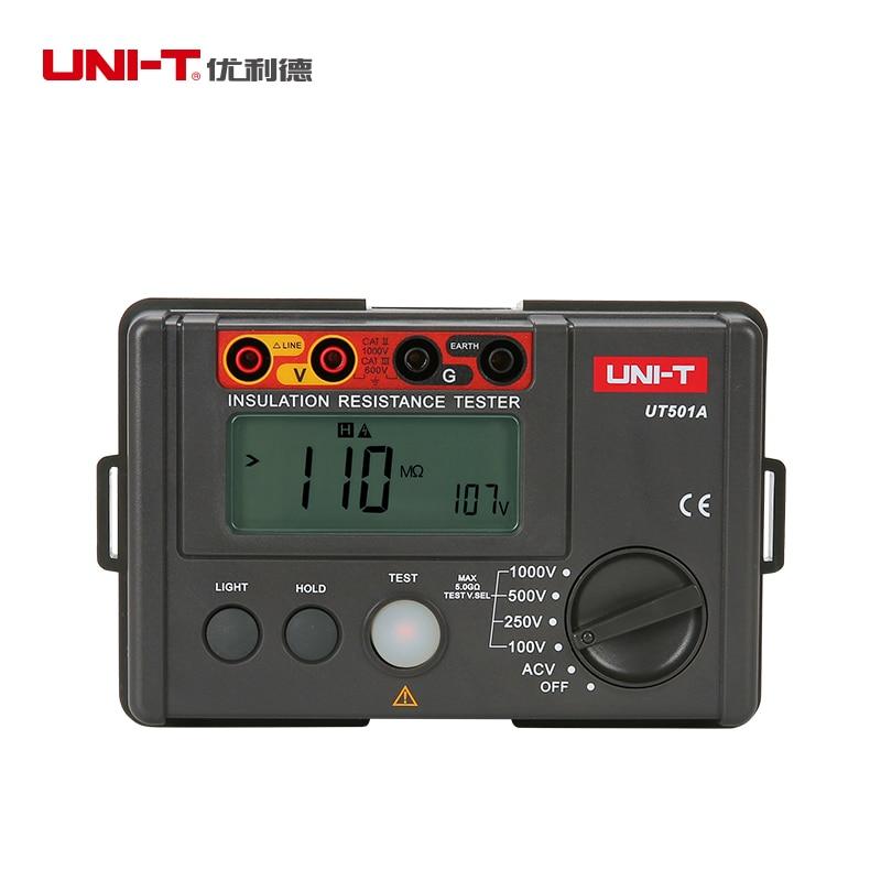 LCD Backlight Display UNI-T UT501A 100V--1000V megger Insulation earth ground resistance meter Tester Megohmmeter Voltmeter