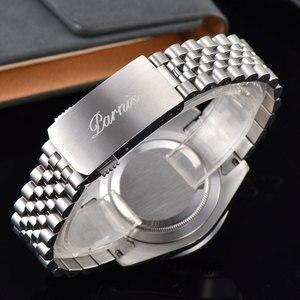 Image 4 - 40mm PARNIS שחור חיוג שחור/כחול bezel ספיר קריסטל תאריך GMT אוטומטי mens שעון מכאני שעונים