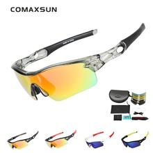 COMAXSUN Professional Polarized Cycling Glasses Bike Goggles Fishing Outdoor Sports Sunglasses UV 400 5 Lens  5 Color