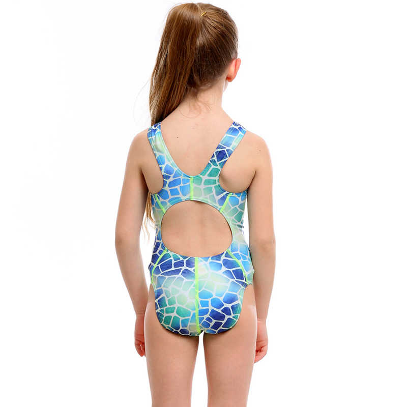 ba1745894acaa ... Professional Swimwear children print ripple Girls One Piece Swimsuit  kids sexy Training Swimming Suit 2019 wave ...