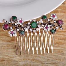 Fashion Women Bridal Jewelry rhinestone Hair Accessories Antique gold Vintage Hair Clip Hair Combs Bridal Hairwear Bijuterira