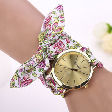 Women Watches Zegarek Damski Vogue Floral Strap Wristwatch Women's Jacquard Cloth Quartz Watch Dress Bracelet Relogio Feminino