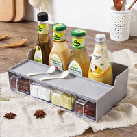 ZIDUKE Kitchen Multi Function Rack Creative One piece Seasoning Bottle Plastic Storage Rack Salt Seasoning Box