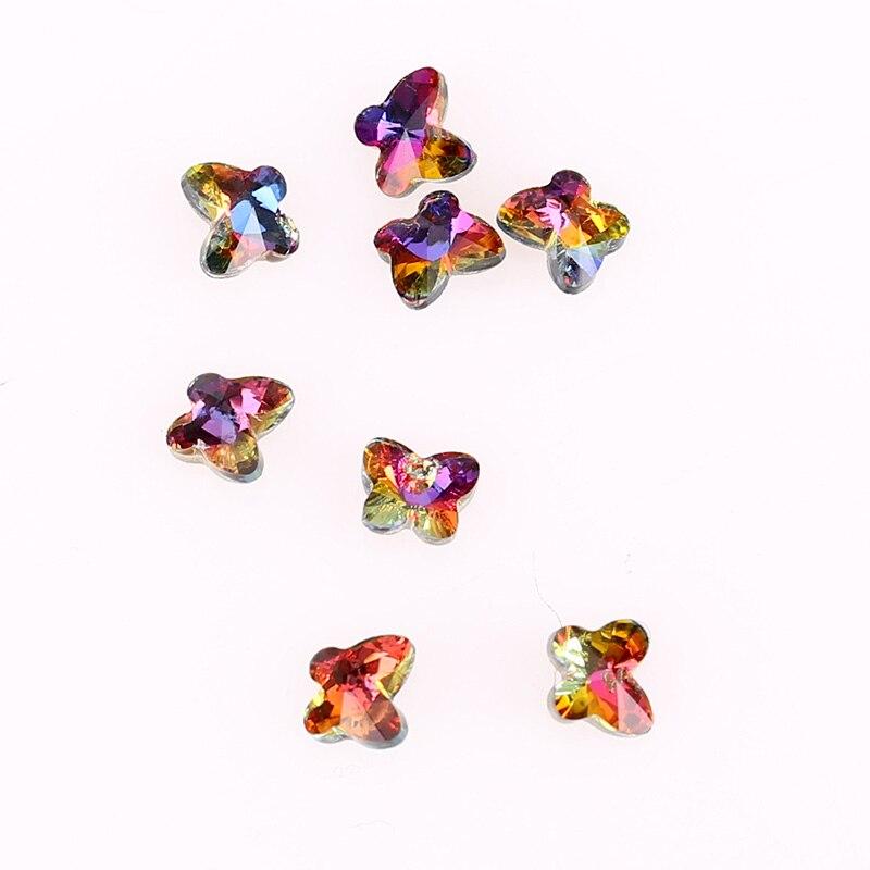9b4279ee37fcc 10 قطعة الحزمة 4.5 5mm 3D حجر الراين لمسمار الفن زينة القوس تصميم الزجاج  لهب الأحجار الملونة ل DIY الأظافر PJ621