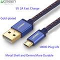 Ugreen 5 v 2a carga rápida denim cabo micro usb para samsung galaxy s6 s7 borda de ouro-banhado a rápida microusb cabo para xiaomi 4 lg g4