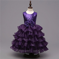 Retail Lace Tiered Dresses For Girl Children Sequined Decoration Knee Length Party Dress Girl Sleeveless Wedding