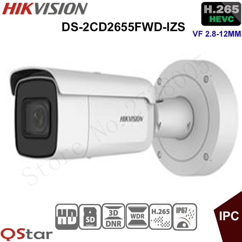 Hikvision 5MP WDR Vari-focal Security IP Camera light H.265 DS-2CD2655FWD-IZS Bullet CCTV Camera 2.8-12mm face detection IP67 видеокамера ip hikvision ds 2cd2642fwd izs цветная