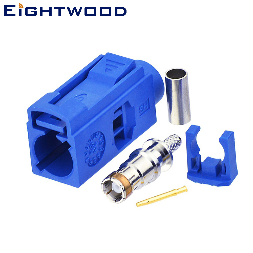 Eightwood <font><b>Fakra</b></font> C Jack Female RF Coaxial Connector <font><b>Adapter</b></font> Blue Crimp LMR-100 RG174 RG316 Cable for <font><b>GPS</b></font> Telematics or Navigation image