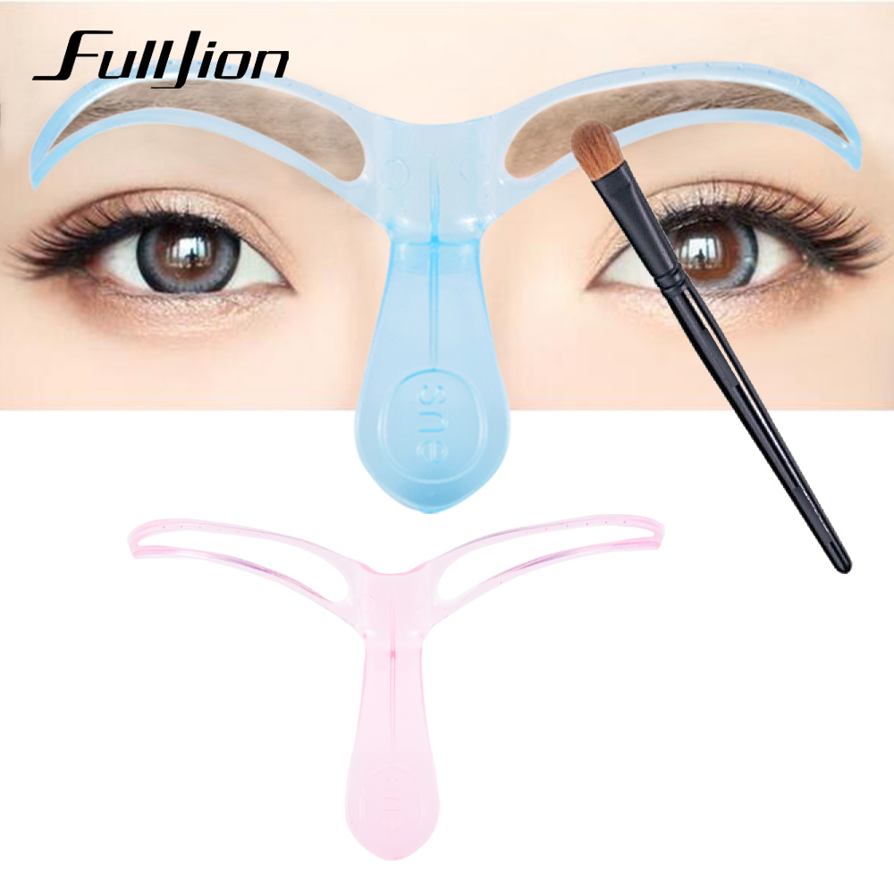 Fulljion 1Pcs Eyebrow Stencils Template DIY Eye Brow Grooming Shaping Eyebrow Shaper Ruler Beauty Woman Makeup Tool Random Color