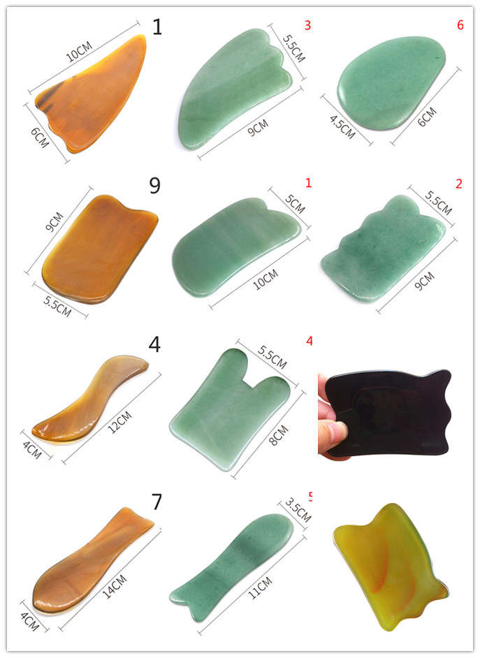 Natural Jade Guasha Board Facial Eyes Scraping Gua Sha SPA Massage Tool Health Care Beauty Acupoints Plate Massager 16 Styles