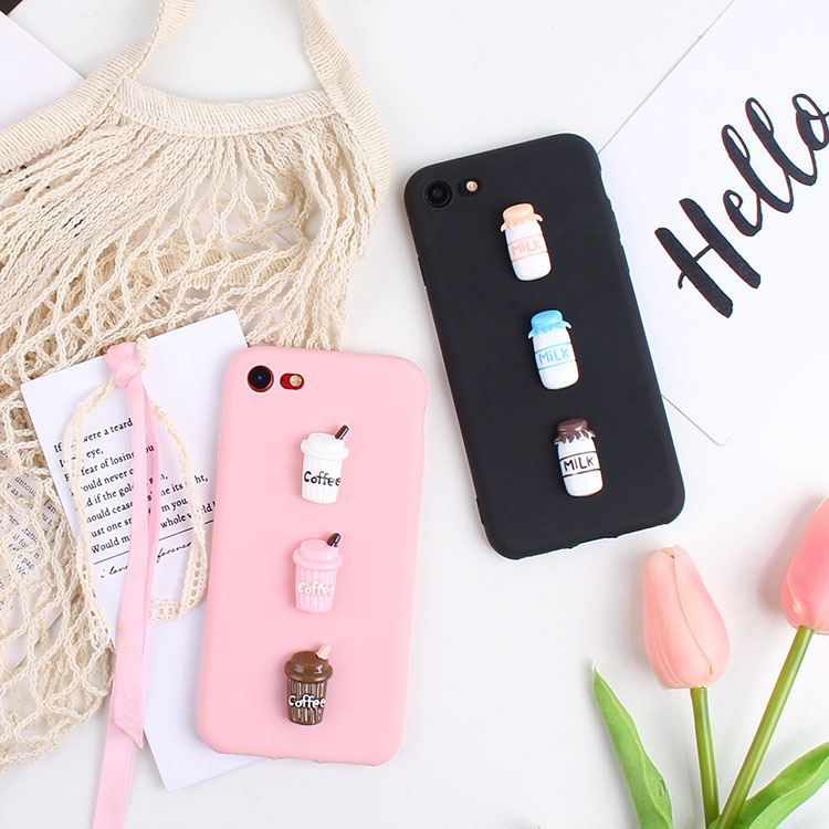 3D Cute Coffee Cup Iphone 4S 5 5S 5C 6 6S 7 8+ Milk Candy TPU Iphone X XR XS Max Silicone Phone Bags Cases