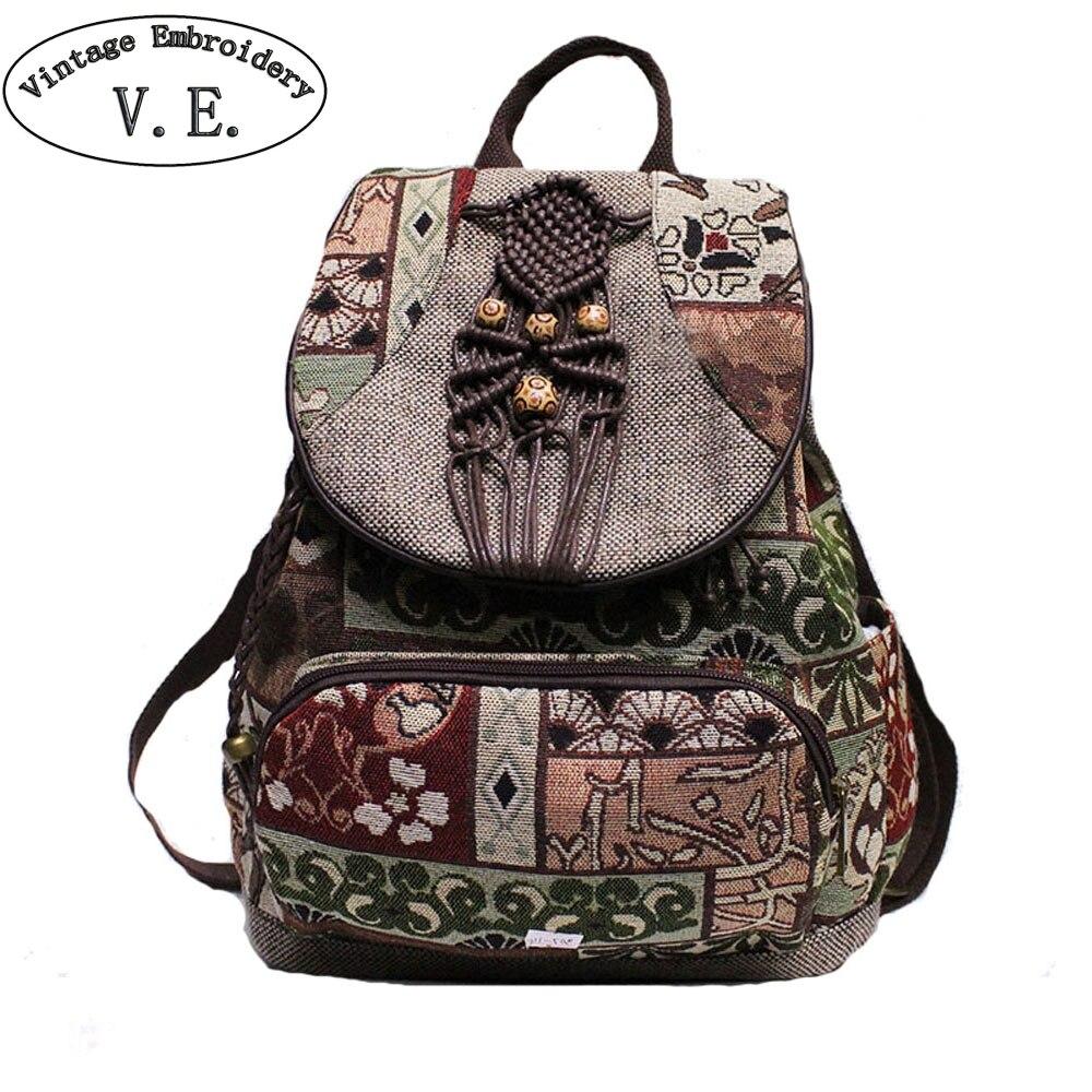 Women Backpacks Canvas Rucksack Shoulder-Bags Geometrical-Print Handmade Female Vintage