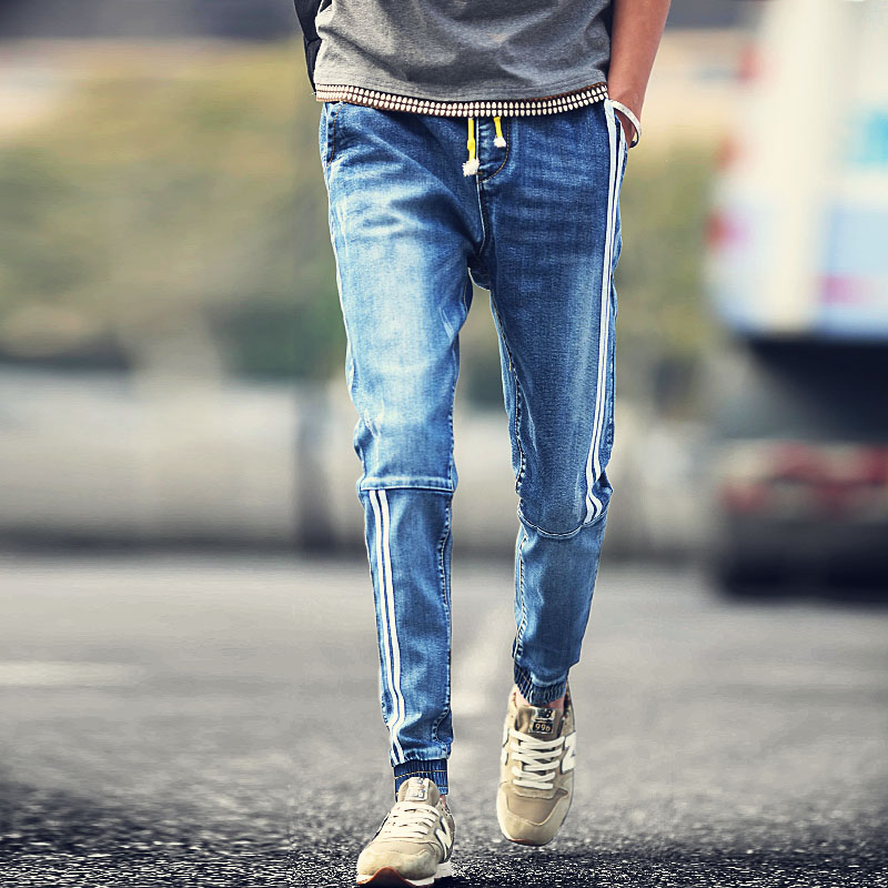 Men-s-jeans-Youth-popular-personality-fashion-white-stripes-stitching-drawstring-pants-beam-Casual-clothing-boutique (1)