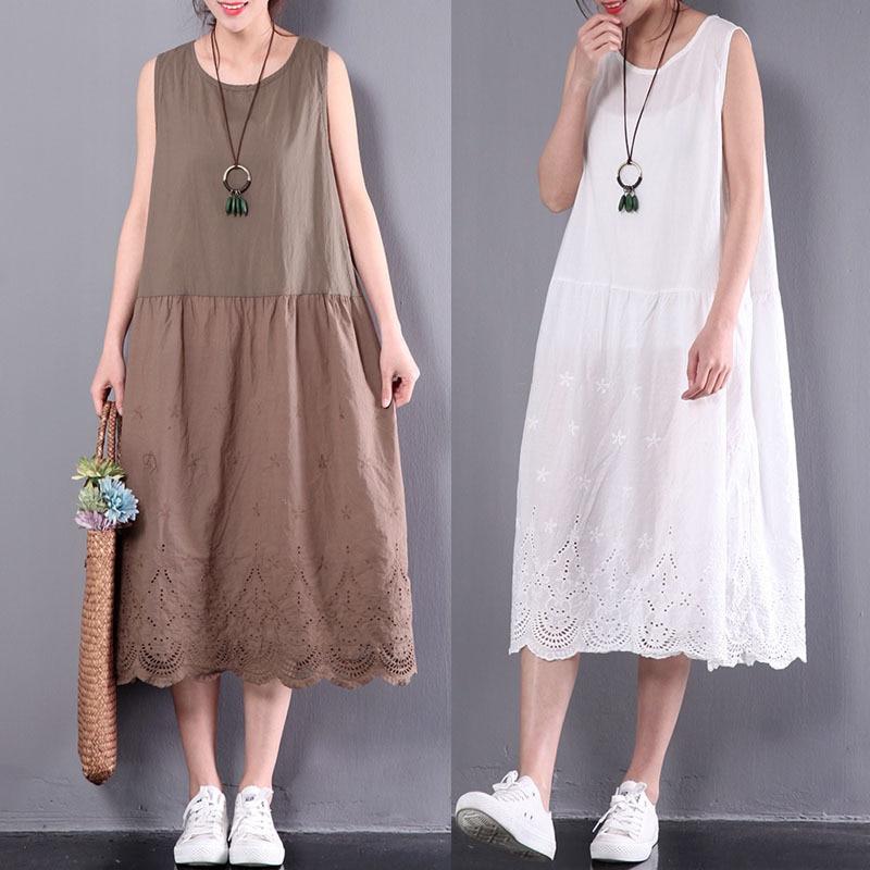 Women Cotton Linen Long Dresses Bohemian Floral Print Sleeveless Summer Dress Elastic Waist Tank Dress Female Casual Vestidos Cool In Summer And Warm In Winter Women's Clothing