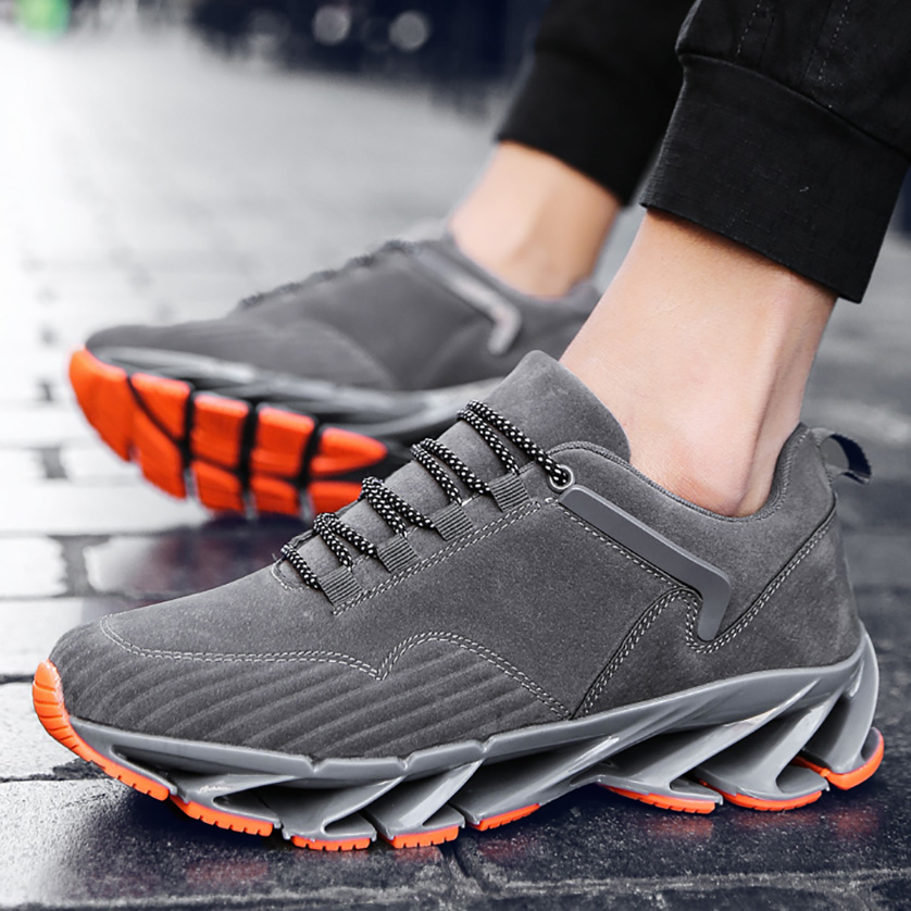 US $40.15 17% OFF|615 Black Gray Leather Breathable Lace UP Style Sneakers Fitness Running Shoes Man in Running Shoes from Sports & Entertainment on