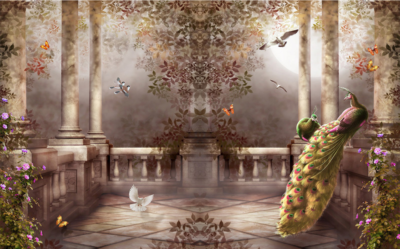 3D Wallpaper For Walls Peacock Wall Mural Rococo Style Bedroom Room Decor TV Backdrop Covering Photo In Wallpapers From Home