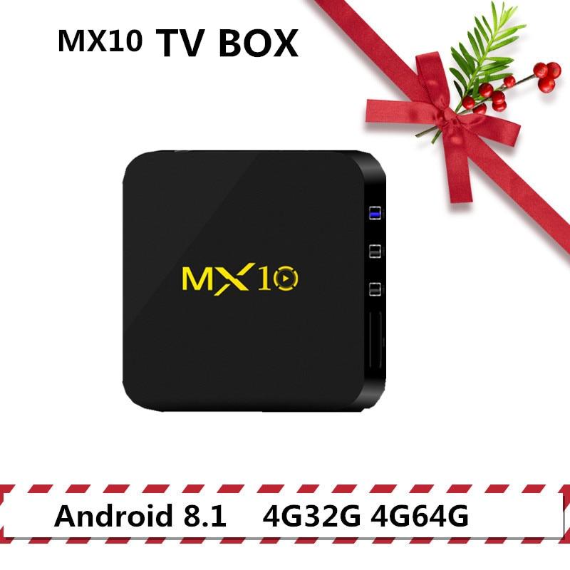 MX10 boîtier de télévision androïde RK3328 4 K TV Box Android 8.1 USB3.0 4 GB 32 GB 64 GB Miracast WiFi HD lecteur multimédia pour télévision intelligente