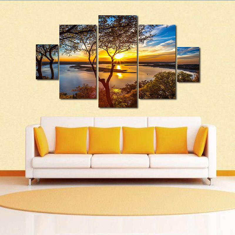 Sunset Lake Water Tree HD Canvas Prints 5 Pieces Painting Wall Art ...