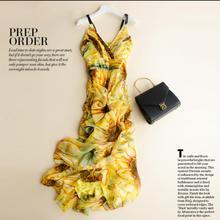 Women Silk dress Long Beach dress 100% Natural Silk Print dress summer Sunflower Yellow Maxi dress Sleeveless Free Shipping