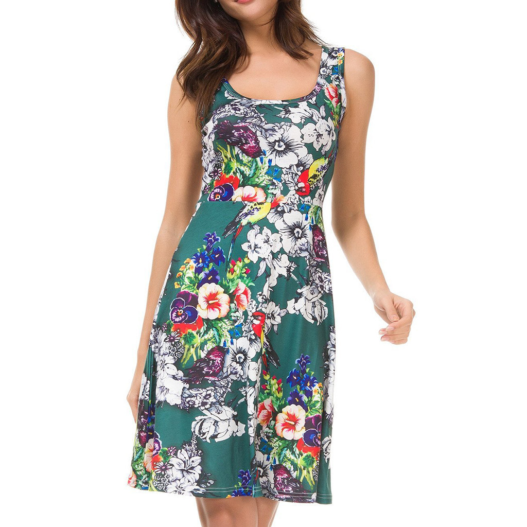 New Dresses 2019 Vestidos Femininos Women Sexy Sleeveless o-Neck Flower Print Party Swing Short Dress