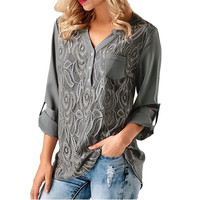 Embroidery Lace Chiffon Blouse Shirt Women Tops 2018 Summer Autumn Fashion Sexy Casual Long Sleeve Ladies