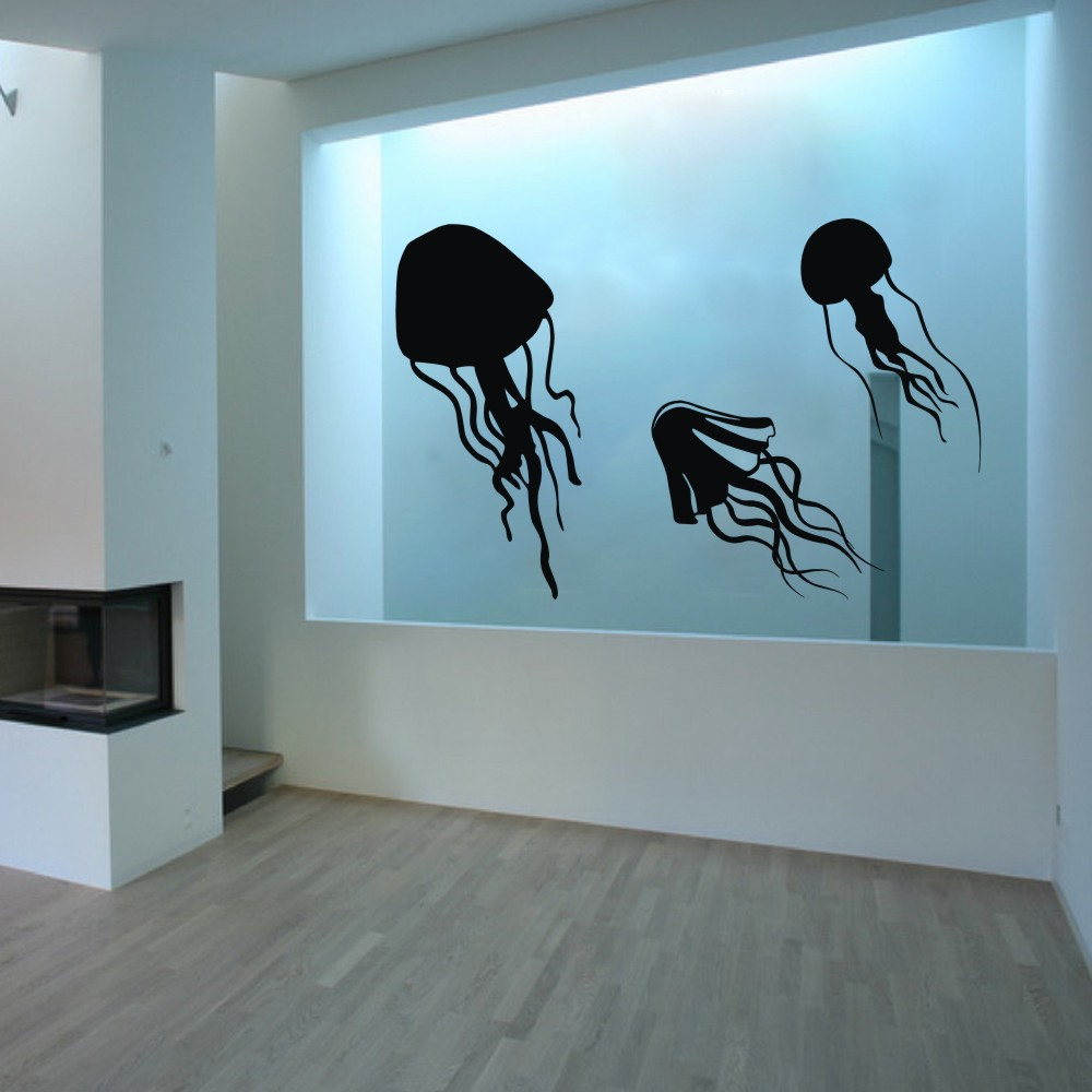 Jellyfish tentacles vinyl wall decal wall sticker home aquarium jellyfish tentacles vinyl wall decal wall sticker home aquarium bathroom decor kids child room sticker graphics 53h x 64w in wall stickers from home amipublicfo Image collections