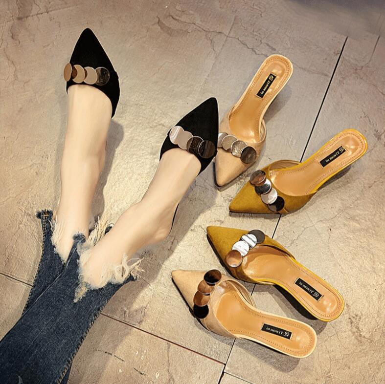 Glisser Sauvage a2 a3 Cool Femmes D'été A1 Soins De Hauts À Xczj 2018 Moitié Baotou Casual Talons Chaussures Nouveau Confortable Pointu wPqRYXHYf7