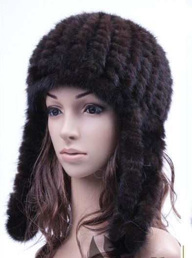 HA119-New White black Brown Red  cap with natural mink fur. autumn winter warm hand knitted fashion  earflap fur hat