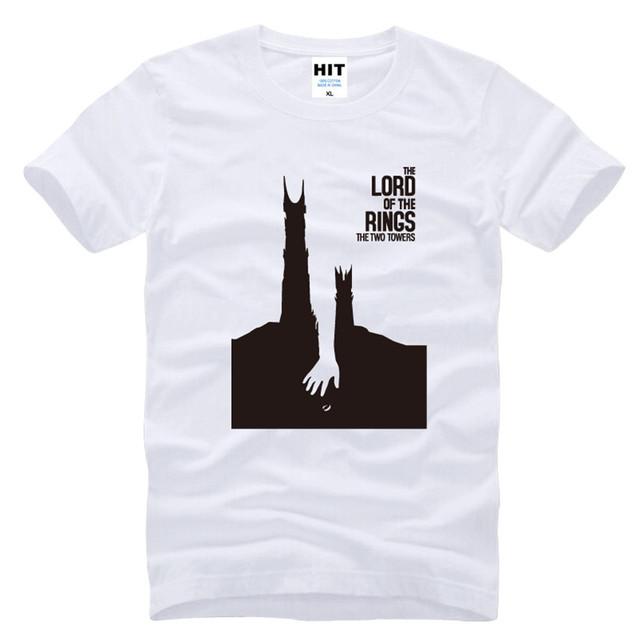 El Señor de los Anillos Las Dos Torres Impreso hombres Camiseta T camisa Para Los Hombres 2016 de La Moda de Manga Corta Cuello de O Top de Algodón Tee