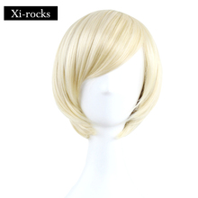 3075 Xi.rocks Short Straight BOBO Wig for Women Synthetic Wigs-female Blonde Halloween Cosplay Wigs Synthetic Fiber elegant short straight side bang stylish synthetic blonde highlight capless wig for women