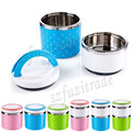 Pink One Layer Stainless Steel Lunch Box with Handle Thermos Food Container Tableware Dinnerware Sets with Cute Dot Pattern -42