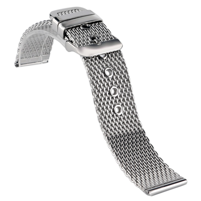 Silver 20mm/22mm/24mm Band Stainless Steel Solid Link Milanese Shark Mesh Watch Band Strap Bracelet Replacement Pin Buckle Men 18 20 22mm mesh stainless steel watch band black silver rose gold strap hook buckle men watches replacement bracelet for huiwei