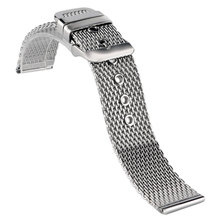 Silver 20mm/22mm/24mm Band Stainless Steel Solid Link Milanese Shark Mesh Watch Band Strap Bracelet Replacement Pin Buckle Men