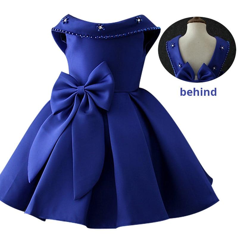 Атласное платье для первого причастия для маленьких детей; блестящее бальное платье; Пышное Платье; Платья с цветочным узором для девочек на свадьбу; платье для банкета сзади - Цвет: blue